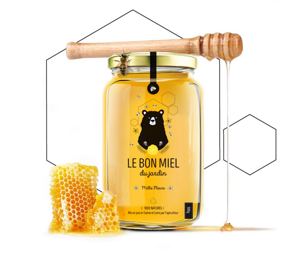 Étiquette de miel Le bon miel du jardin