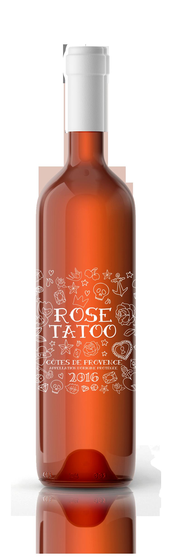 Habillage d'étiquette pour le rosé Rose Tatoo