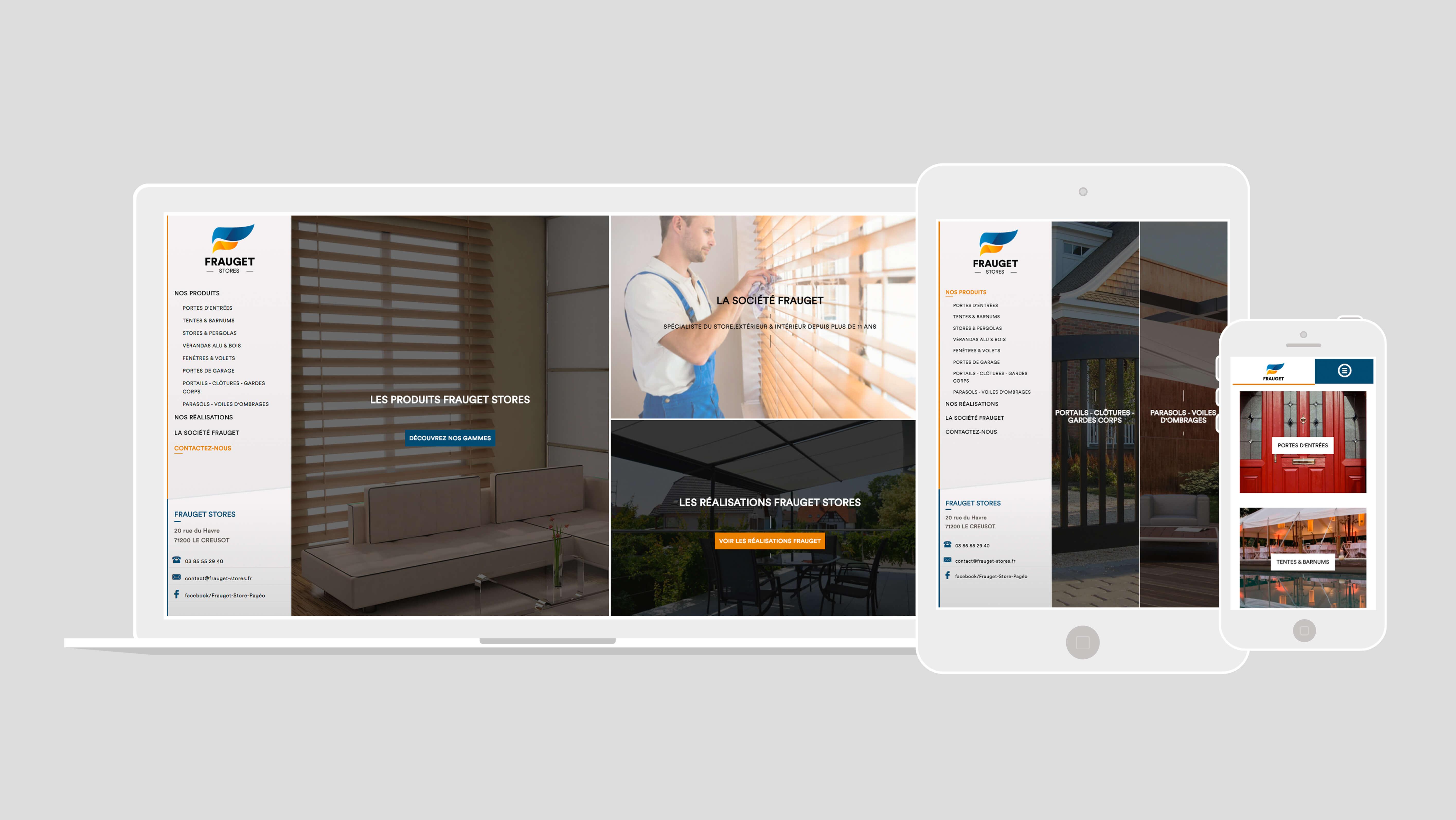 Site Frauget Stores responsive pour ordinateur, tablette et smartphone