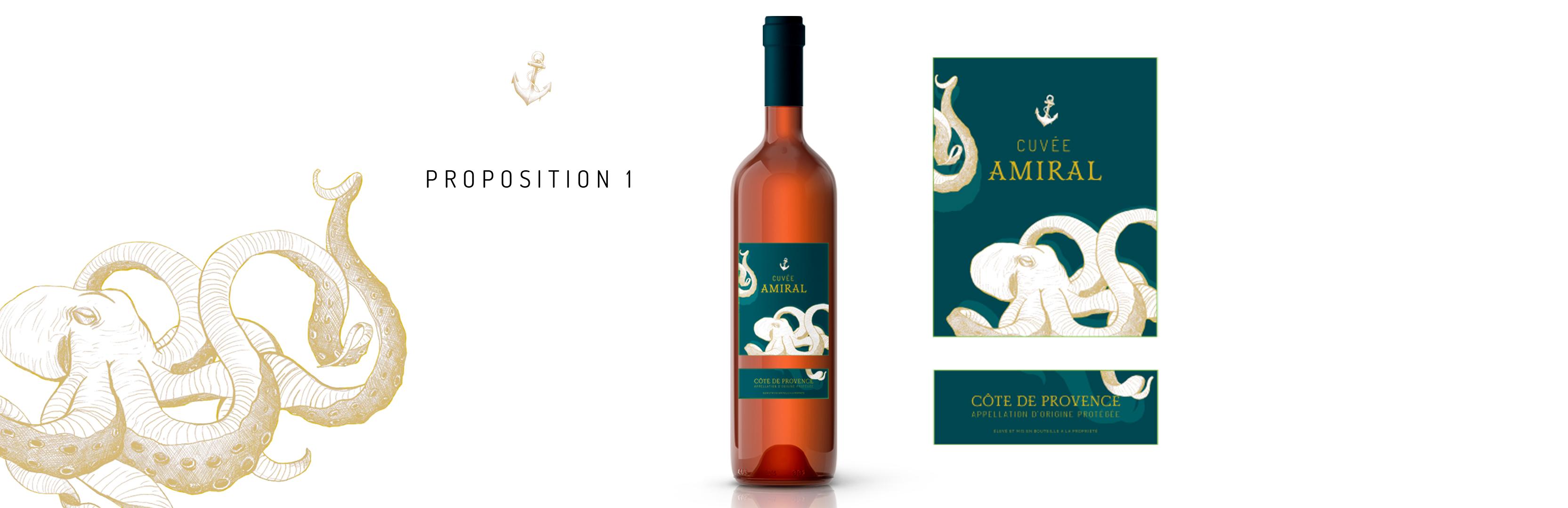Habillage de bouteille Cuvée Amiral proposition 1
