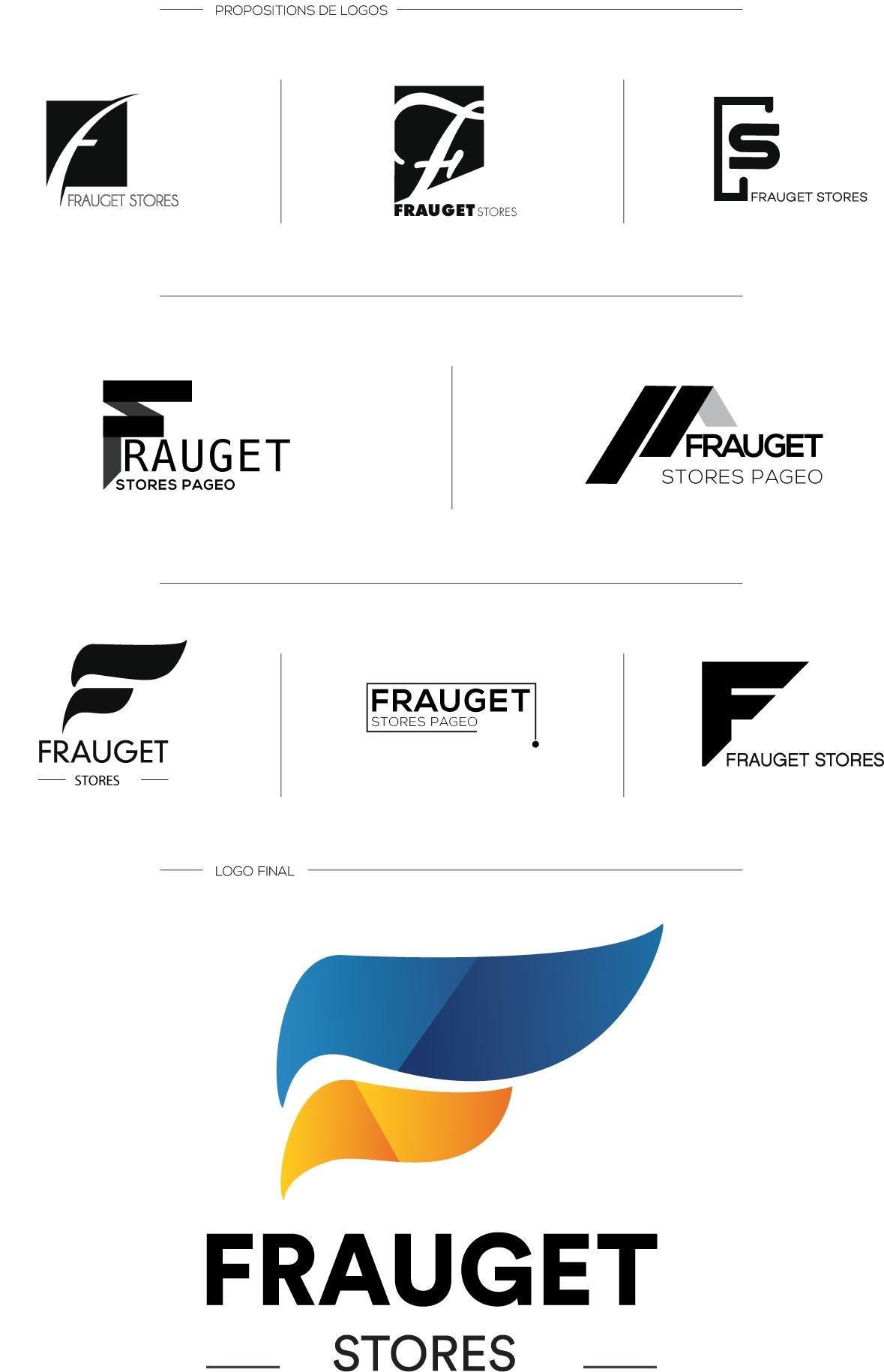Planche de recherche de logo pour l'entreprise Frauget Stores