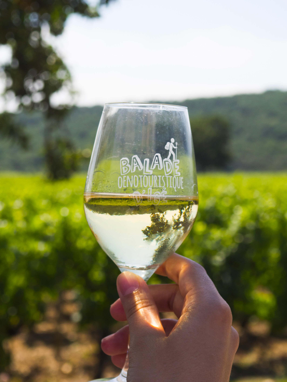 verre de la balade oenotouristique remplie vin chateau london