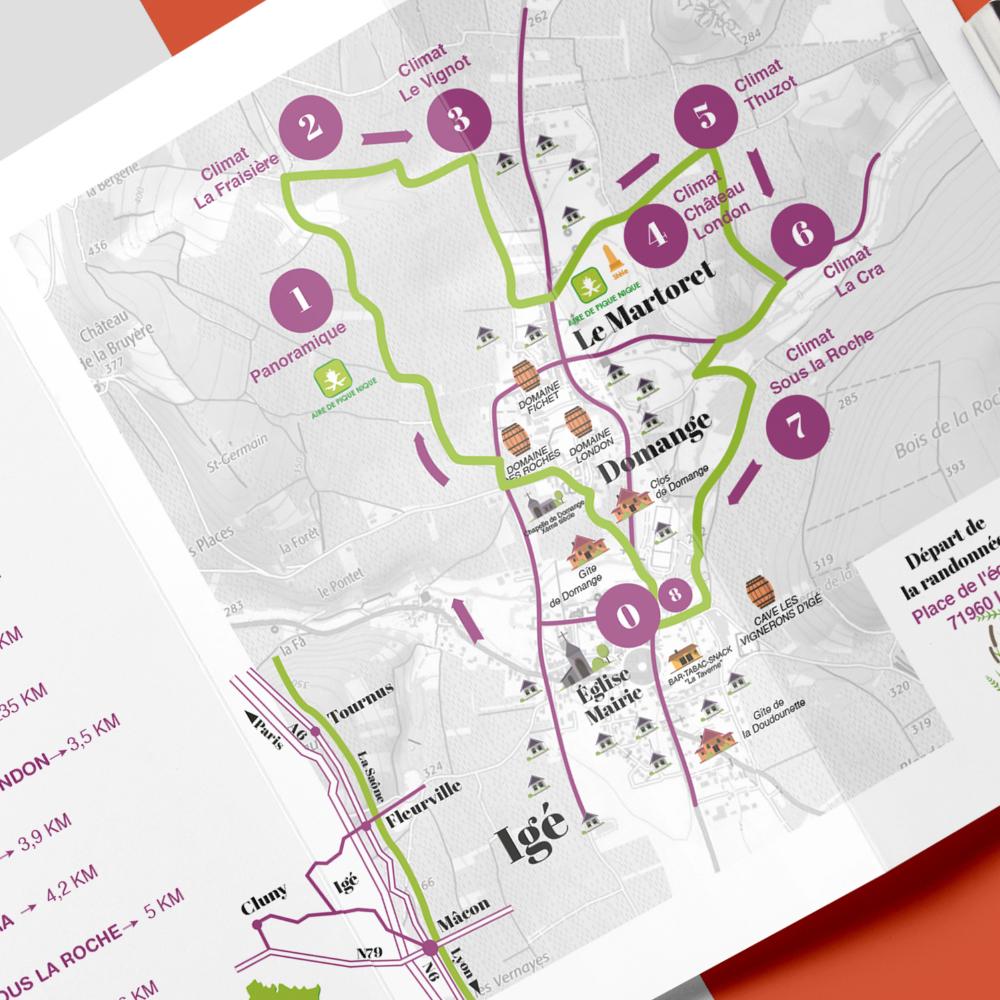zoom sur la carte de la brochure rando d'Igé