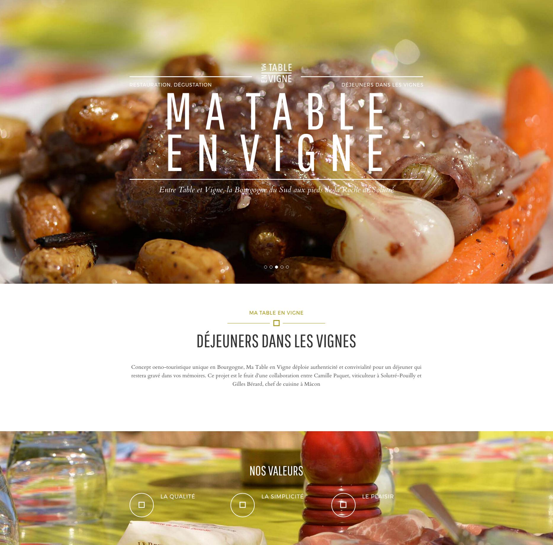 Page d'accueil du site Ma table en vigne