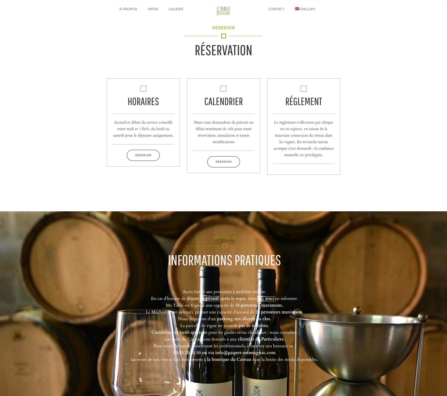 zone de réservation du site ma table en vigne