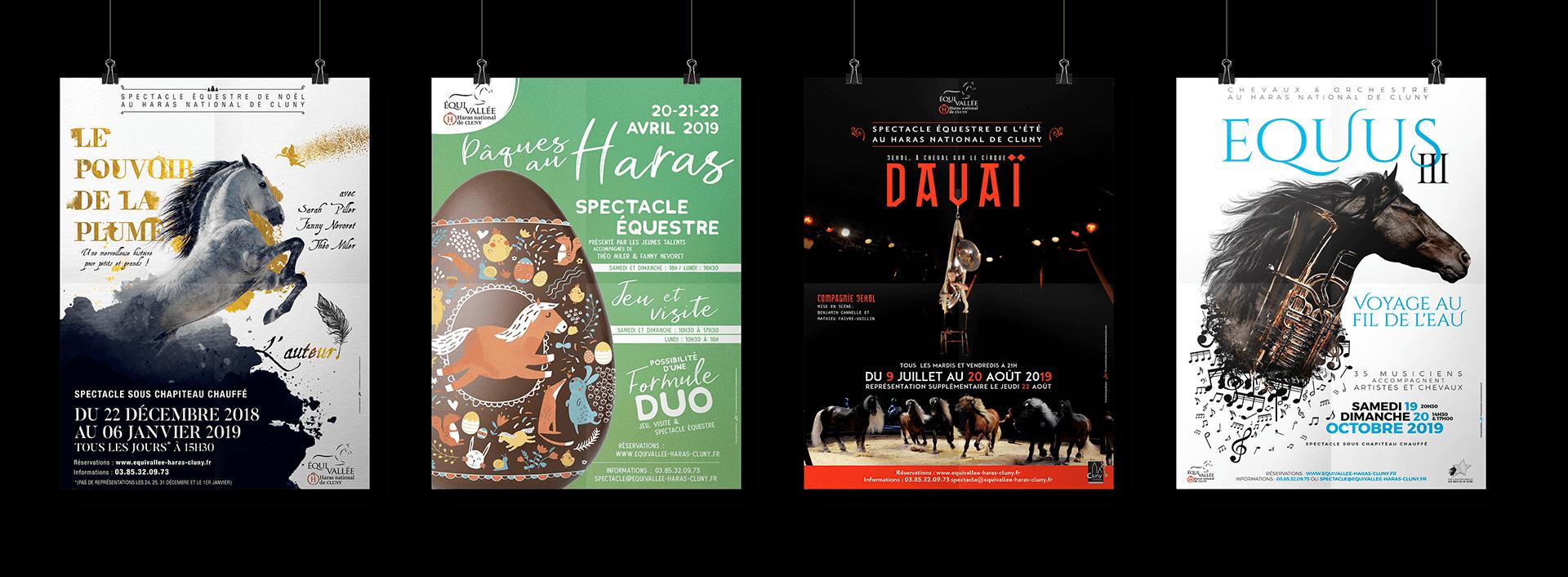Réalisation d'affiches equivallée pour les différents spectacles du Haras de Cluny