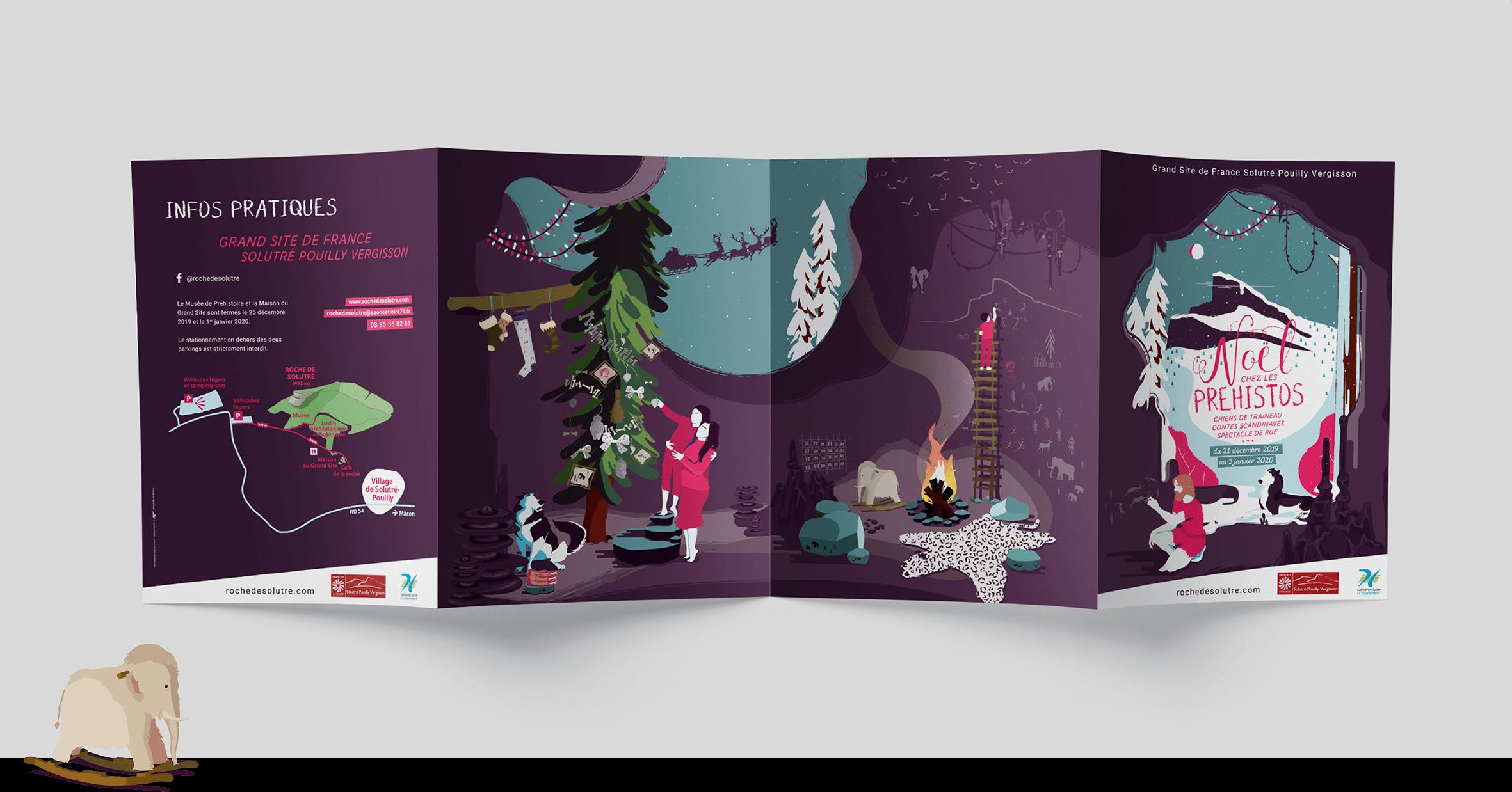 couverture illustrations brochure Noel Chez Les Prehistos Grand Site de Solutre