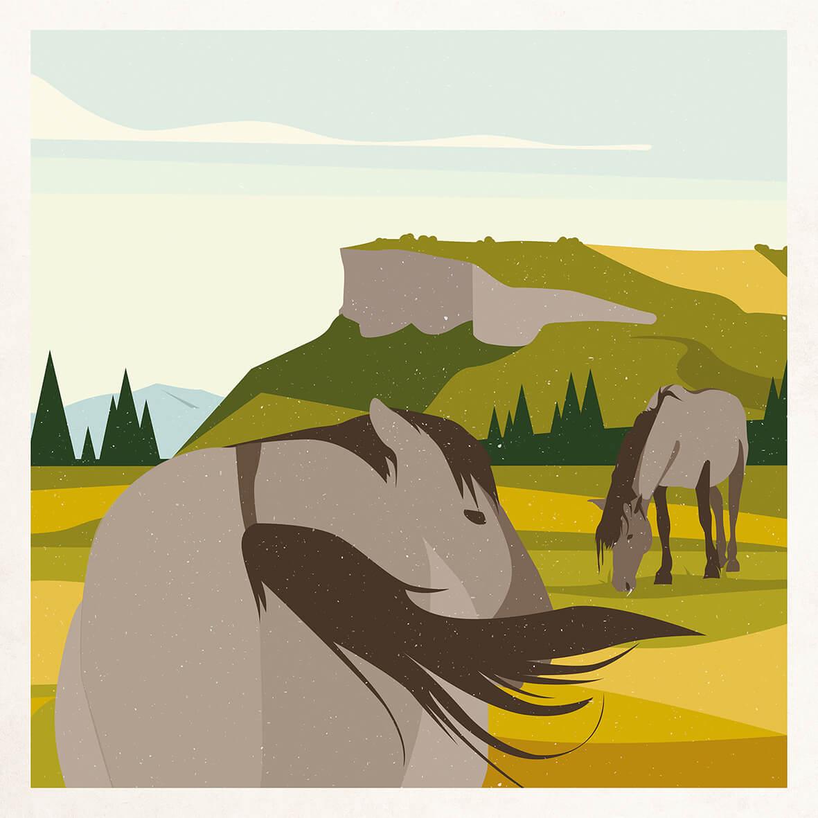 illustration chevaux préhistorique Solutré