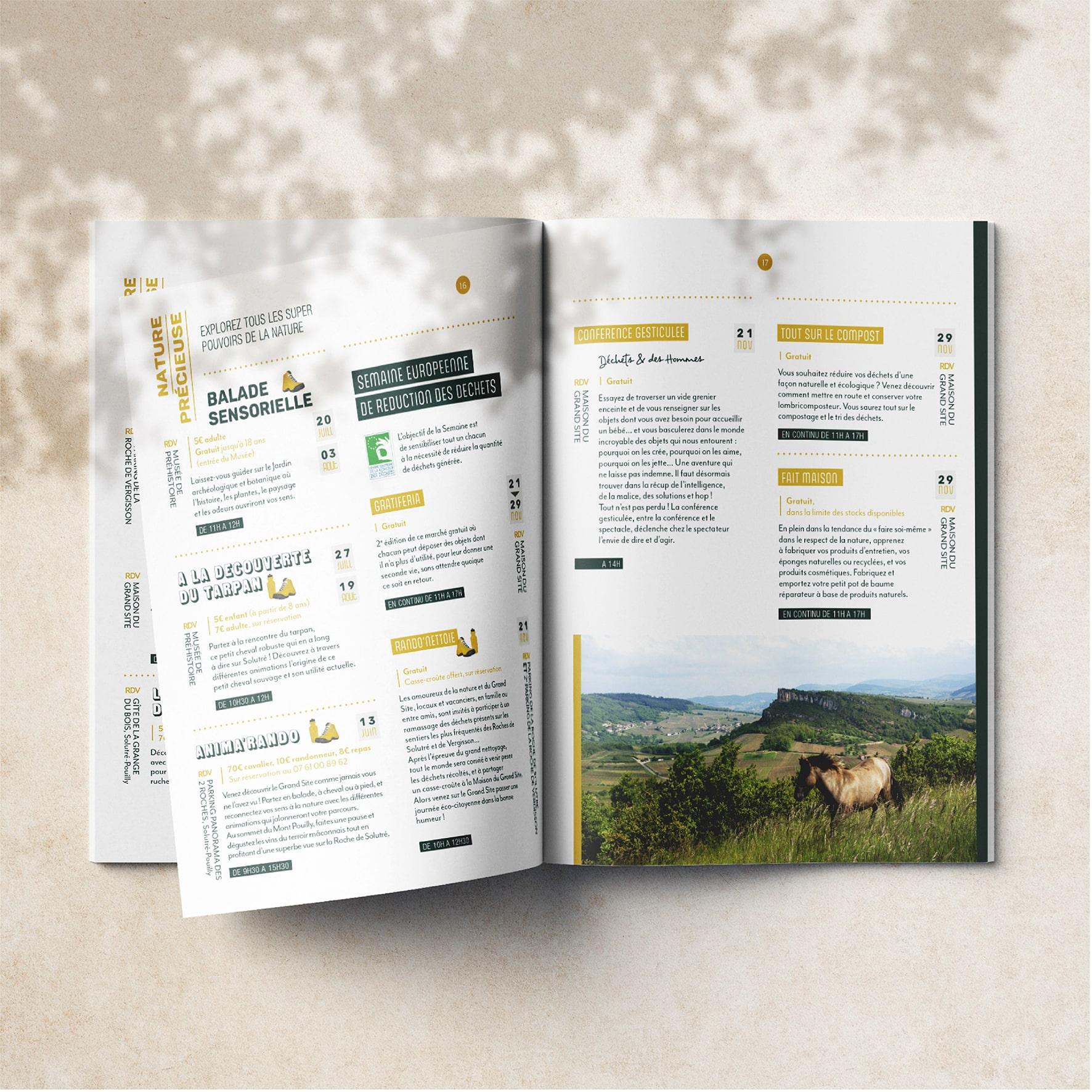Pages intérieure de l'agenda en fête 2020 du GRAND SITE DE SOLUTRÉ