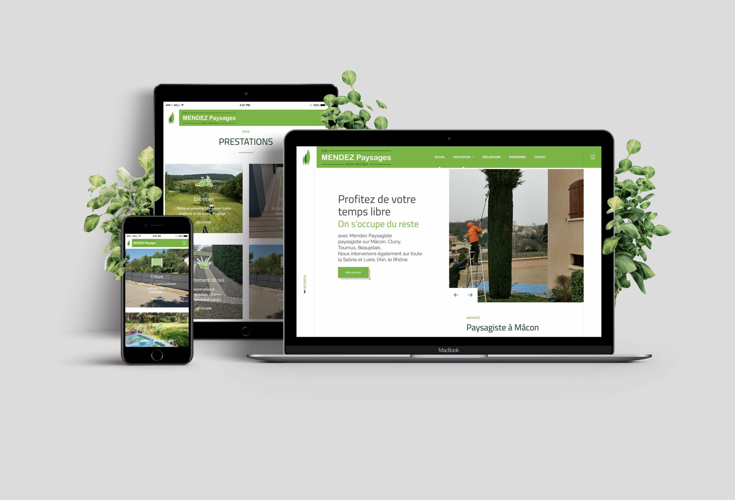 mockup site web mendez paysages responsive